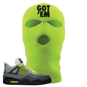Jordan 4 Neon Sneaker Safety Yellow Distressed Dad Hat | Hat to match Nike Air Jordan 4 Neon Shoes | Got Em