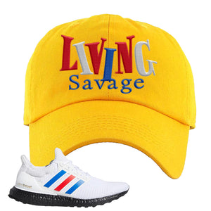 Ultra Boost White Red Blue Dad Hat | Gold, Living Savage