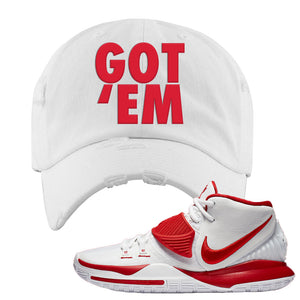 Kyrie 6 White University Red Distressed Dad Hat | Got Em, White