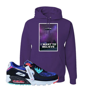 Air Max 90 Galaxy Hoodie | Deep Purple, I Want to Believe