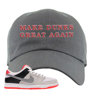 Nike SB Dunk Low Infrared Orange Label Make Dunks Great Again Dark Gray Dad Hat To Match Sneakers