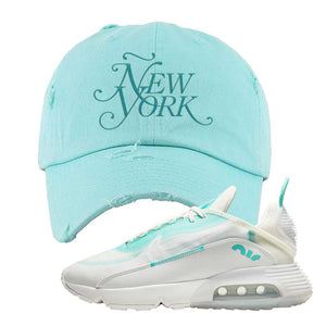 Air Max 2090 Pristine Green Distressed Dad Hat | Teal, New York
