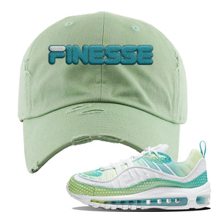 WMNS Air Max 98 Bubble Pack Sneaker Sage Green Distressed Dad Hat | Hat to match Nike WMNS Air Max 98 Bubble Pack Shoes | Finesse