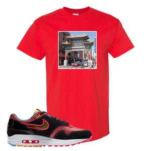 Air Max 1 NYC Chinatown Chinese Gate Of Friendship Red T-Shirt To Match Sneakers