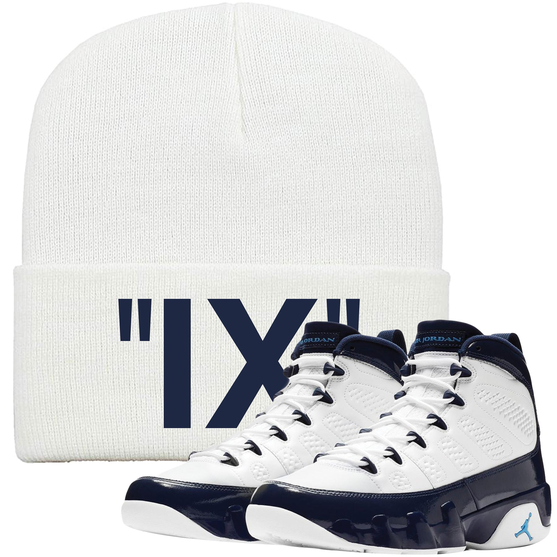 9d471653672 This Jordan 9 UNC All Star Blue Pearl sneaker matching winter beanie is  perfect for matching