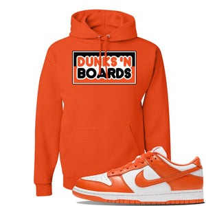 "Foot Clan Nike SB Dunk Low ""Syracuse"" Dunks N Board Orange Pullover Hoodie  Complete your sneaker matching outfit with this SB Dunk Low ""Syracuse"" Sneaker Orange Pullover Hoodie. The Dunks N Board logo on the front of this SB Dunk Low ""Syracuse"" Sneaker Orange Pullover Hoodie will perfectly match your kicks. Never wear kicks without a fresh fit again!"
