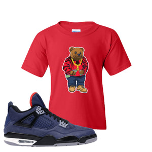 Jordan 4 WNTR Loyal Blue Sweater Bear Red Sneaker Hook Up Kid's T-Shirt