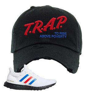 Ultra Boost White Red Blue Distressed Dad Hat | Black, Trap To Rise Above Poverty