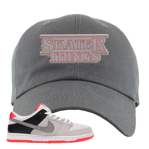 Nike SB Dunk Low Infrared Orange Label Skater Things Dark Gray Dad Hat To Match Sneakers