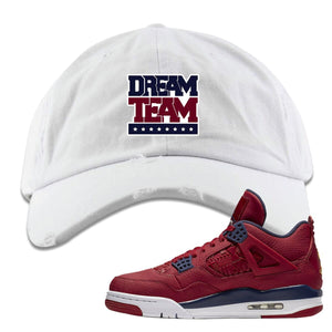 Jordan 4 FIBA Dream Team White Sneaker Matching Distressed Dad Hat