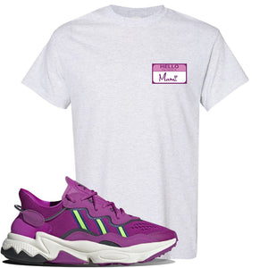 Ozweego Vivid Pink Sneaker Ash T Shirt | Tees to match Adidas Ozweego Vivid Pink Shoes | Hello my Name is Mami