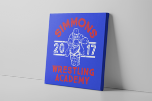 Simmons Wrestling Academy Canvas | Ben Simmons Wrestling Academy Royal Wall Canvas the front of this canvas has the simmons wrestling academy design