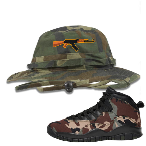 Jordan 10 Woodland Camo Sneaker Matching AK47 Camouflage Boonie Hat