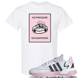 WMNS Nite Jogger Pink Boost Sneaker White T Shirt | Tees to match Adidas WMNS Nite Jogger Pink Boost Shoes | No Pressure No Diamond
