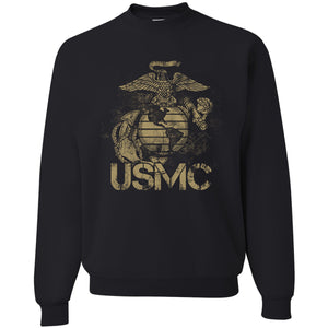 Standard Issue Distressed USMC Black Grunt Life Crewneck Sweater