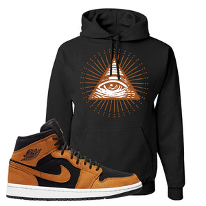Air Jordan 1 Mid Wheat Hoodie | All Seeing Eye, Black