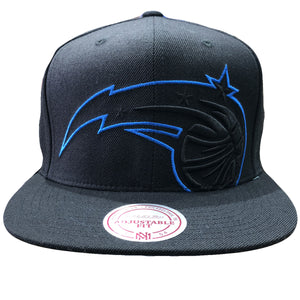 embroidered on the front of the orlando magic snapback hat is the orlando magic logo in black and blue