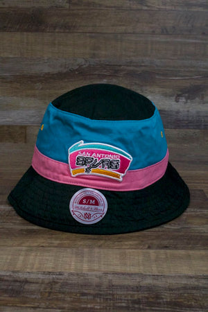 San Antonio Spurs Throwback Bucket Hat | Black Pink and Blue Spurs Tri-Tone Fisherman Bucket