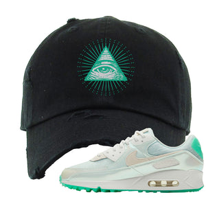 Air Max 90 Sail Pastel Green Distressed Dad Hat | All Seeing Eye, Black