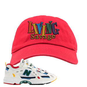 Aime Leon Dore X New Balance 827 Abzorb Multicolor 'White' Dad Hat | Red, Living Savage
