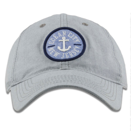 Ocean City, New Jersey Anchor Patch Light Gray Oxford Cloth Adjustable Baseball Cap