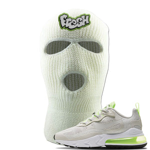 Air Max 270 React Ghost Green Sneaker White Ski Mask | Winter Mask to match Nike Air Max 270 React Ghost Green Shoes | Fresh