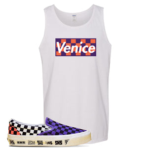 Vans Slip On Venice Beach Pack Tank Top | White, Checkerboard Box