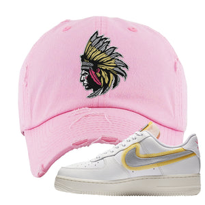 Air Force 1 Low 07 LX White Gold Distressed Dad Hat | Indian Chief, Light Pink