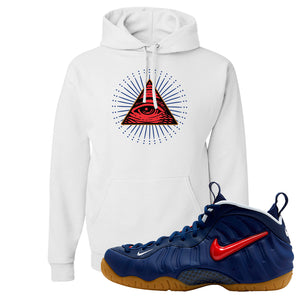 Air Foamposite Pro USA Hoodie | White, All Seeing Eye