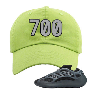 Yeezy Boost 700 V3 Alvah Sneaker Neon Green Dad Hat | Hat match Adidas Yeezy Boost 700 V3 Alvah Shoes | 700 Logo