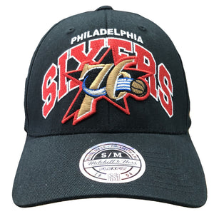Embroidered on the front of the retro Philadelphia 76ers black stretch fit cap is the throwback Philadelphia 76ers logo and the word Philadelphia embroidered in white above the word Sixers