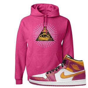 Air Jordan 1 Mid Familia Hoodie | All Seeing Eye, Cyber Pink