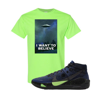 KD 13 Planet of Hoops T Shirt | I Want To Believe, Neon Green