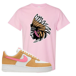 Nike Air Force 1 Pink Orange T-Shirt | Indian Chief, Light Pink