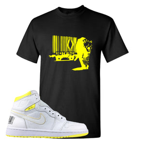 Air Jordan 1 First Class Flight Barcode Leopard Black Sneaker Matching T-Shirt