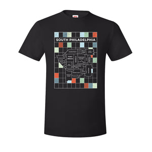 South Philly Map T-Shirt | South Philadelphia Map Black Tee Shirt the front of this t-shirt has the south philly map