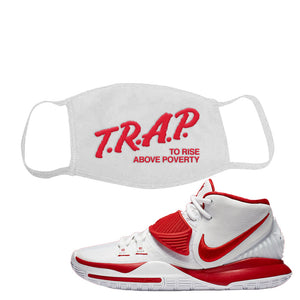 Kyrie 6 White University Red Face Mask | Trap To Rise Above Poverty, White