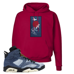 Jordan 6 Washed Denim Hoodie | Deep Red, Crane Sun