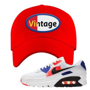 Air Max 90 Paint Streaks  Dad Hat | Vintage Oval, Red