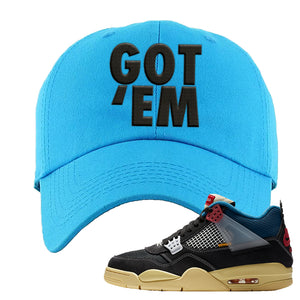 Union LA x Air Jordan 4 Off Noir Dad hat | Got Em, Blue Aqua