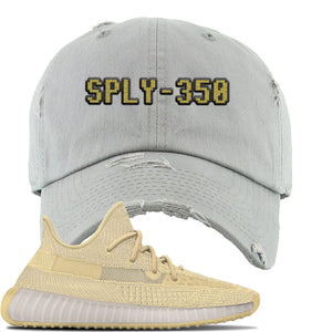 Yeezy Boost 350 V2 Flax Sneaker Light Gray Distressed Dad Hat | Hat to match Adidas Yeezy Boost 350 V2 Flax Shoes | Sply-350
