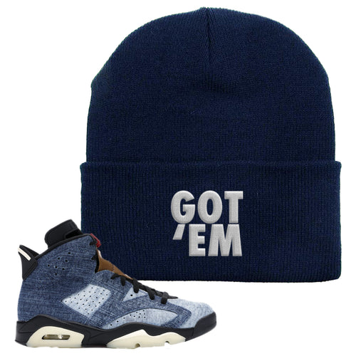 Air Jordan 6 Washed Denim Got Em Navy Blue Sneaker Hook Up Beanie