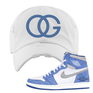 Air Jordan 1 High Hyper Royal Distressed Dad Hat | OG, White