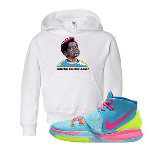 Kyrie 6 Pool Kids Pullover Hoodie | Watchu Talking Bout, White