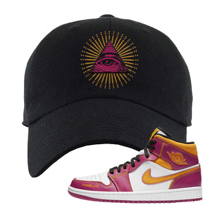 Air Jordan 1 Mid Familia Dad Hat | All Seeing Eye, Black