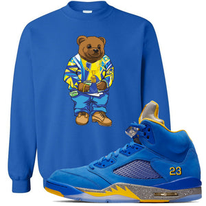 This blue sweater will match great with your Jordan 5 Alternate Laney JSP shoes