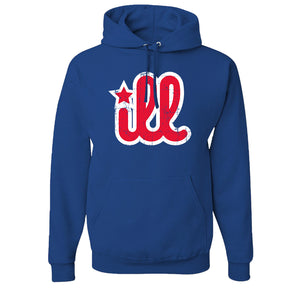 ILL Logo Pullover Hoodie | ILL Logo Royal Blue Pull Over Hoodie the front of this hoodie has the red and white ill design