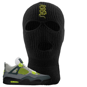 Jordan 4 Neon Sneaker Black Distressed Dad Hat | Hat to match Nike Air Jordan 4 Neon Shoes | Coiled Snake