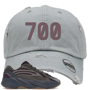 "Yeezy Boost 700 Geode Sneaker Hook Up ""700"" Light Gray Distressed Dad Hat"