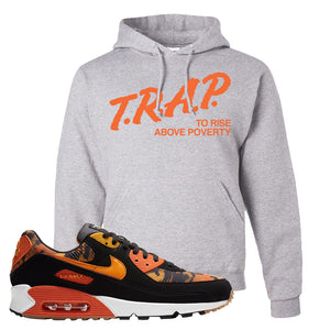 Air Max 90 Orange Camo Hoodie | Trap To Rise Above Poverty, Ash